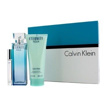 Calvin Klein Kit Eternity Aqua: Eau De Parfum Spray 100ml/3.4oz + Loção Para Corpo 200ml/6.7oz + Eau De Parfum Rollerball 10ml/0.33oz  3pcs