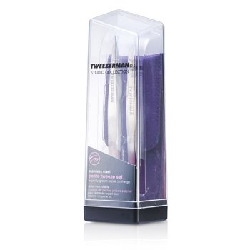 Tweezerman Petite Tweeze Set: Slant Tweezer + Point Tweezer - With Lavendar Leather Case (Studio Collection)  2pcs