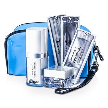 Dr. Brandt Time Arrest Set de Viaje: Crema Limpiadora + Crema + Flu�do Facial + L�ser Apretado + Suero de Ojos + Impulsador de Col�geno + Bolso  6pcs+1bag