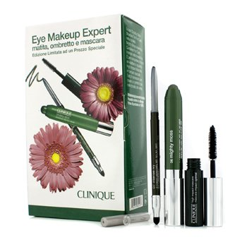 Clinique Eye Makeup Expert (1x Delineador, 1x Sombra en Barra, 1x High Impact Máscara) - Green  3pcs