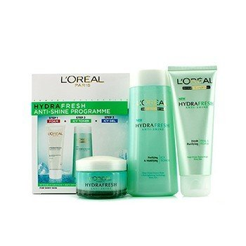 L'Oreal Hydrafresh Anti-Shine Programme: Tónico Helado 200ml + Espuma 100ml + Gel Helado 50ml  3pcs