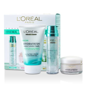L'Oreal ชุด Hydrafresh Deep Hydration Programme: มาสก์ 100ml + เอสเซ้นส์ Deep Boosting Essence 50ml + ครีม Dry Skin Moisturising Cream 50ml  3ชิ้น