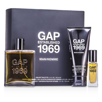 Gap Established 1969 Man Coffret: Eau De Toilette Spray 100ml/3.4oz + Travel Spray 15ml/0.5oz + Hair & Body Wash 100ml/3.4oz  3pcs