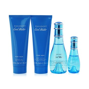 Davidoff Kit Cool Water: Eau De Toilette Spray 50ml/1.7oz + Eau De Toilette Spray 15ml/0.5oz + Loção Corporal 75ml/2.5oz + Sabonete Liquido 75ml/2.5oz  4pcs