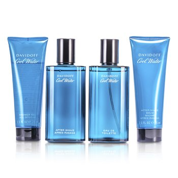 Davidoff Cool Water Coffret: Eau De Toilette Spray 75ml/2.5oz + After Shave 75ml/2.5oz + After Shave Balm 75ml/2.5oz + Shower Gel 75ml/2.5oz  4pcs