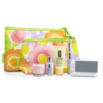 Clinique Zestaw podróżny Travel Set: DDML Plus + Moisture Surge + Laser Focus + Eye Shadow Quad #03, 20, 23, 38 + Mascara & Lipstick #43 + 2xBag  5pcs+2bags