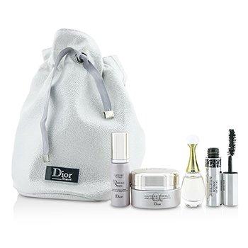 Christian Dior Travel Set: Capture Totale Cream 15ml + Dreamskin 7ml + J'Adore EDP 5ml + Mascara 4ml + Bag  4pcs+1bag