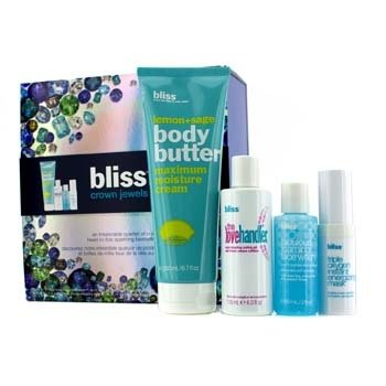 Bliss Set Crown Jewels: Manteca Corporal 200ml + Love Handler 118ml + Triple Oxygen Mascarilla Energizante Instantánea 15ml + Jabón Faical 60ml  4pcs