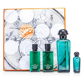 Hermes D'Orange Verte Coffret: Eau De Cologne Spray 100ml/3.3oz + Miniature 7.5ml/0.25oz + Loción Corporal 40ml/1.35oz + Champú Para Todo 40ml/1.35oz  4pcs