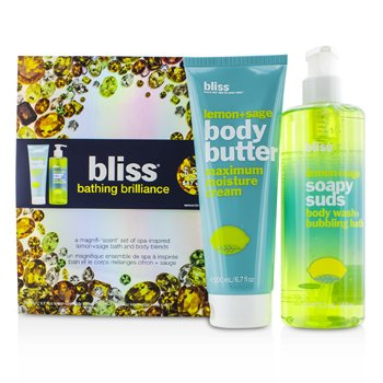 Bliss Bathing Brilliance Set: Lemon+Sage Soapy Suds 473.2ml/16oz + Body Butter 200ml/6.7oz  2pcs