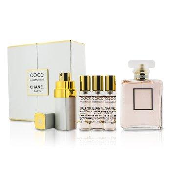 Chanel Coco Mademoiselle Coffret: Eau De Parfum Semprot 50ml/1.7oz + Purse Semprot with 3 Refills 4x7.5ml  5pcs