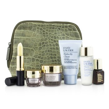 Estee Lauder Travel Set: Perfectly Clean 30ml + Micro Essence 30ml + Resilience Lift Creme 15ml + Eye Cream 5ml + ANR II 7ml + Lip Conditioner + Bag  6pcs+1bag