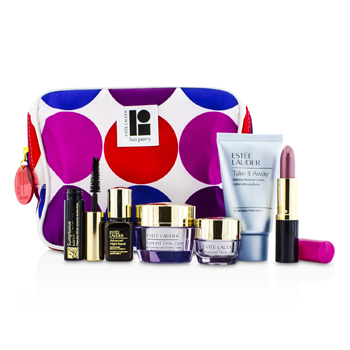 Estee Lauder Travel Set: Makeup Remover 30ml + Advanced Time Zone Creme 15ml + Eye Creme 5ml + ANR II 7ml + Mascara 2.8ml + Lipstick #61 3.8g + Bag  6pcs+1bag