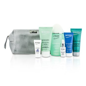 Biotherm Travel Set: Aquasource Lotion + Cleanser + Corrector + Celluli Eraser + UV Supreme + Aquasource Nuit Jelly + Bag  6pcs+1bag