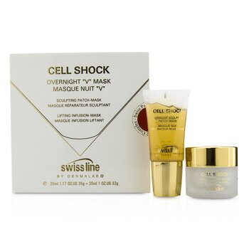 "Swissline Cell Shock Overnight ""V"" Mask: Csulpting Patch-Mask 35ml/1.18oz + Lifting Onfusion-Mask 30ml/1oz 118  2pcs"