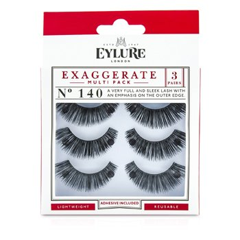 Eylure Exaggerate Multipack Pestañas Falsas - 140 Black (Adhesivo Incluido)  3pairs