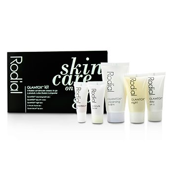 Rodial Glamtox Kit: Cleansing Balm 30ml + Glamtox Day SPF15 15ml + Glamtox Night 15ml + 5 Minute Facial 10ml + Glam Balm Lip 2.5ml  5pcs