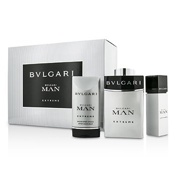 Bvlgari Man Extreme Coffret: Eau De Toilette Spray 100ml/3.4oz & 15ml/0.5oz + Bálsamo para Depués de Afeitar 75ml/2.5oz  3pcs