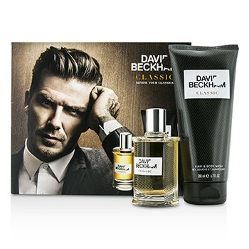 David Beckham Classic Kazeta: voda po holení 60ml/2oz + šampón na vlasy a telo200ml/6.7oz  2pcs