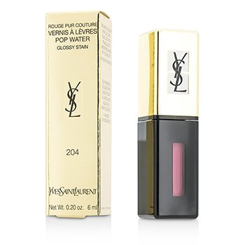 Yves Saint Laurent Rouge Pur Couture Vernis A Levres Pop Water Glossy Stain - #204 Onde Rose  6ml/0.2oz