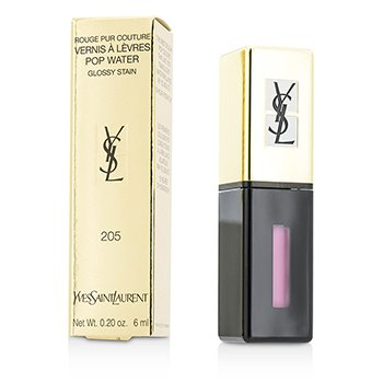 Yves Saint Laurent Rouge Pur Couture Vernis A Levres Pop Water Glossy Stain - #205 Pink Rain  6ml/0.2oz