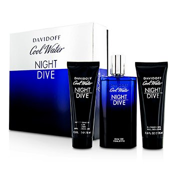 Davidoff Cool Water Night Dive Coffret: Eau De Toilette Spray 125ml/4.2oz + Bálsamo para Depués de Afeitar 75ml/2.5oz + Gel Ducha 75ml/2.5oz  3pcs