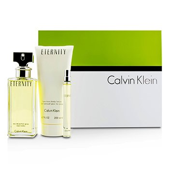 Calvin Klein Eternity szett: Eau De Parfüm spray 100ml/3.4oz + testápoló lotion 200ml/6.7oz + Eau De Parfüm 10ml/0.33oz  3pcs
