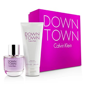 Calvin Klein Downtown Kofre: EDP Sprey 90ml/3oz + Vücut Losyonu 200ml/6.7oz ( Pembe Kutu )  2pcs