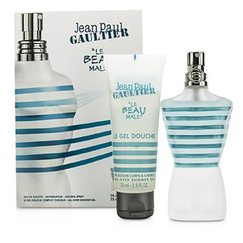 Jean Paul Gaultier Le Beau Male Coffret: Eau De Toilette Spray 75ml/2.5oz + Gel Ducha 75ml/2.5oz  2pcs