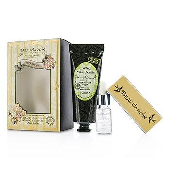 Heathcote & Ivory Beau Jardin Citrus Grove Manicure Coffret: Hand Cream 100ml/3.38oz + Cuticle Oil 10ml/0.33oz + Nail Buffer  3pcs