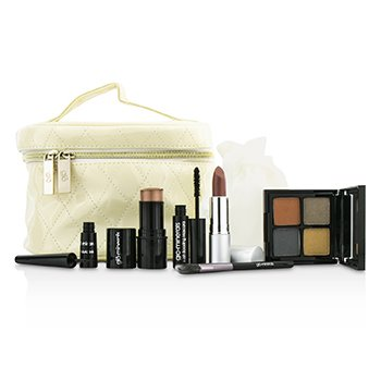 GloMinerals Keepsake Collection Train Case (Color Stick+Mini Mascara+Eye Shadow Quad+Eyeliner+Lipstick+Mini Eye Brush+Case)  6pcs+1case