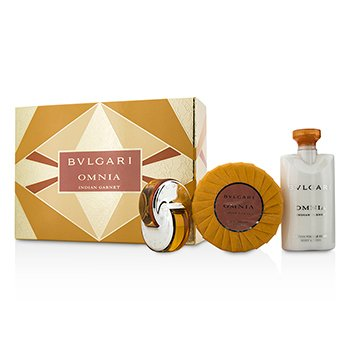 Bvlgari Omnia Indian Garnet Coffret: Eau De Toilette Spray 15ml/0.5oz + Jab�n Perfumado 150g/5.3oz + Loci�n Corporal 75ml/2.5oz  3pcs