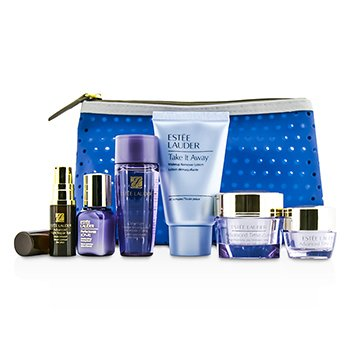 Estee Lauder Travel Set: Makeup Remover + Optimizer + Advanced Time Zone Cream + Perfectionist [CP+R]  + Eye Cream + Eye Serum + Bag  6pcs+1bag