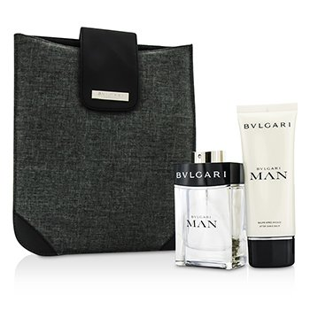 Bvlgari Man Coffret: Eau De Toilette Spray 100ml/3.4oz + After Shave Balm 100ml/3.4oz + Bag  2pcs+1bag