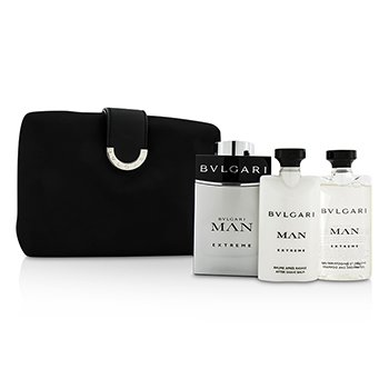 Bvlgari Man Extreme Coffret: Eau De Toilette Spray 100ml/3.4oz + Bálsamo para Después de Afeitar 75ml/2.5oz + Champú & Gel de Ducha 75ml/2.5oz + Bag  3pcs+1bag