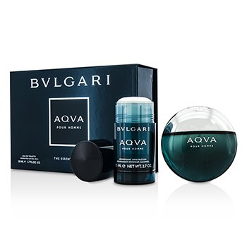 Bvlgari Aqva Pour Homme Coffret: Eau De Toilette Spray 50ml/1.7oz + Desodorante en Barra 75ml/2.7oz  2pcs