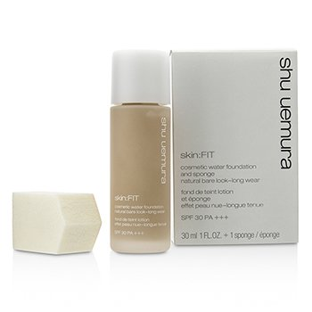 Shu Uemura Skin:Fit Cosmetic Water Foundation and Sponge SPF30 - #554 Medium Sand  30ml/1oz
