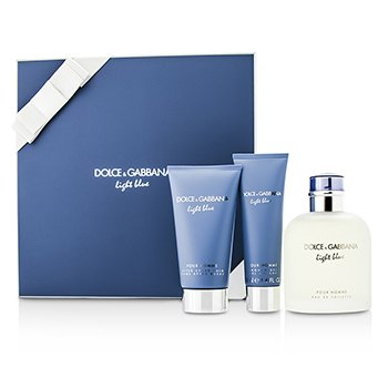 Dolce & Gabbana Homme Light Blue Coffret: EDT Spray 125ml/4.2oz + Bálsamo para Después de Afeitar 75ml/2.5oz + Gel de Ducha 50ml/1.6o  3pcs