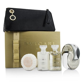 Bvlgari Omnia Crystalline Coffret: Eau De Toilette Spray 65ml/2.2oz + Loción Corporal 40ml/1.35oz + Gel de Ducha 40ml/1.35oz + Jabón50g/1.76oz + Bolsa  4pcs+1pouch