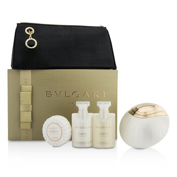 Bvlgari Aqva Divina Coffret: Eau De Toilette Spray 65ml/2.2oz + Loción Corporal 40ml/1.35oz + Gel de Ducha 40ml/1.35oz + Jabón50g/1.76oz + Bolsa  4pcs+1pouch
