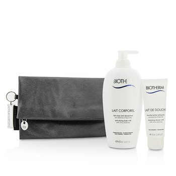 Biotherm Body Care X Mandarina Duck Coffret: Leche Corporal Anti Sequedad  400ml + Leche Limpiadora de Ducha 75ml + Bolsa  2pcs+1bag