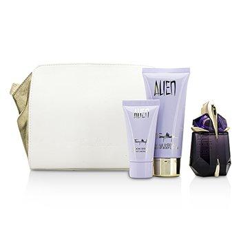 Thierry Mugler Alien Coffret: Eau De Parfum Refillable Spray 30ml/1oz + Body Lotion 100ml/3.5oz + Shower Gel 30ml/1oz + Pouch  3pcs+1pouch