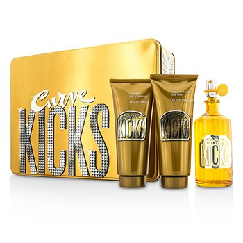 Liz Claiborne Curve Kicks szett: Eau De Toilette spray 100ml/3.4oz + testápoló lotion 100ml/3.4oz + tusolózselé 100ml/  3pcs