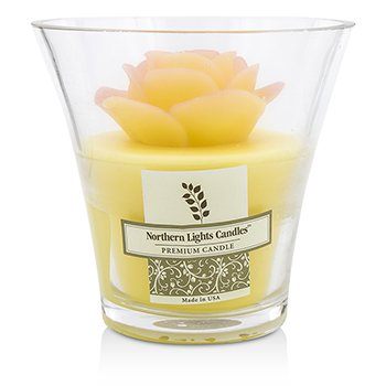 Northern Lights Candles Floral Vase Premium Candle - Yelliow Rose  5 inch