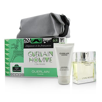 Guerlain Homme L'Eau Boisee Coffert: Eau De Toilette Spray 80ml/2.7oz + Hair and Body Wash 75ml/2.5oz + pouch  3pcs+pouch