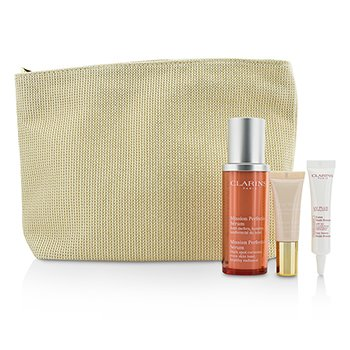 Clarins Skin-Perfecting Expert Set: Mission Perfecting Serum 30ml + UV Plus SPF 50 10ml + Instant Light Base #01 10ml + Bag  3pcs+1bag
