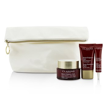 Clarins Skin Replenishers Set: Super Restorative Day Cream 50ml + Night Cream 15ml + Eye Concentrate 7ml + Bag  3pcs+1bag