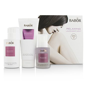 Babor SPA Relaxing Lavender Mint Coffret: Shower Oil & Bath 200ml + Peeling Cream 200ml + Sleep Well Spray 50ml  3pcs