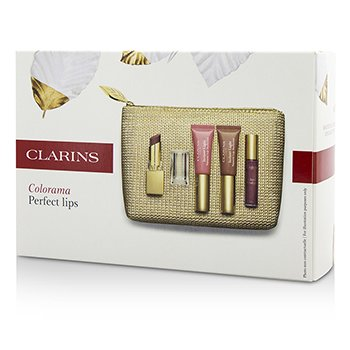 Clarins Colorama Perfect Lips Collection: 1x Rouge Eclat, 2x Lip Perfector, 1x Gloss Prodige, 1x Bag  4pcs+1bag
