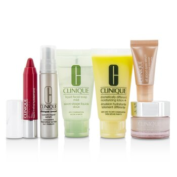 Clinique Travel Set: Facial Soap 30ml + DDML+ 30ml + Moisture Surge Intense 15ml + Smart Serum 10ml +Eye Serum 5ml + Chubby Stick #05  6pcs